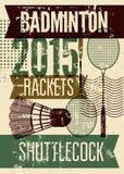 De stijlaffiche van badminton typografische uitstekende grunge Retro vectorillustratie met rackets en shuttle royalty-vrije illustratie