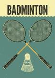 De stijlaffiche van badminton typografische uitstekende grunge Retro vectorillustratie met rackets en shuttle stock illustratie
