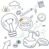 De stijlconcept die van het krabbelontwerp creatief idee, oplossing, brainstorming, het creatieve denken vinden De moderne illust royalty-vrije illustratie