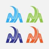 De stijlembleem van technologie van het brievenm Shield embleem abstract Stock Fotografie