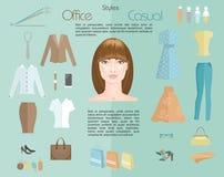 De stijlen van de vrouwenkleding Infodraphics royalty-vrije illustratie