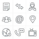 De Stijlmedia en mededeling van lijnpictogrammen Stock Afbeelding