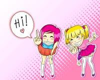 De stijlmeisjes van Manga vector illustratie
