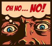 De stijlmens van de pop-art uitstekende strippagina in een paniek met angst aangejaagd gezicht die bij iets stuitende vectorillus vector illustratie