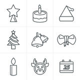 De Stijlpictogrammen van lijnpictogrammen geplaatst Kerstmis Stock Fotografie