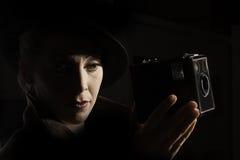 De stijlportret van filmnoir Royalty-vrije Stock Afbeelding