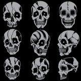 De stijlreeks 01 van de schedels Oude school Stock Foto's