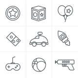 De Stijlstuk speelgoed van lijnpictogrammen pictogrammen Stock Foto's