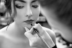 De stilist maakt professionele lippenmake-up royalty-vrije stock foto