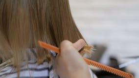 De stilistkapper maakt een kapsel voor een leuk meisje in een schoonheidssalon Het kappen, haarknipsel stock footage