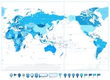 De Stille Oceaan Gecentreerde Wereldkaart in Kleuren van Blauwe en glanzende kaartpictogrammen royalty-vrije stock foto's