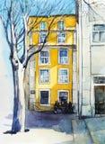 De stille straat van Lissabon Waterverfschets stock illustratie