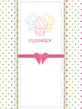 De stipachtergrond en paneel van Cupcake Stock Fotografie