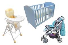 De stoel, het bed en perambulator van het kind Stock Foto
