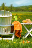 De stoel van Adirondack in gras klaar voor het ontspannen Stock Afbeelding