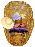 De stoel van het wapen met hulpmiddelen het tuinieren Stock Foto