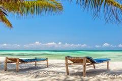 De Stoelen van de strandzitkamer onder palmbladeren bij de kust van India Stock Afbeeldingen