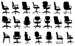 De stoelen van het bureau silhouetteert vectorillustratie Royalty-vrije Stock Afbeelding