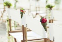 De stoelen voor huwelijkstrefpunt op het strand. Royalty-vrije Stock Foto's