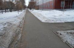 De stoepkruising in het Park, de sneeuw op de kant van de weg, de lenteachtergrond met exemplaarruimte Stock Fotografie