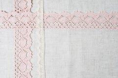De stof van het linnen en met de hand gemaakt kant Stock Afbeelding