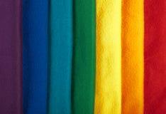 De stoffenachtergrond van de regenboog Stock Fotografie