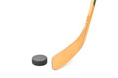 De stok en de puck van het ijshockey royalty-vrije stock foto