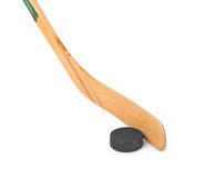 De stok en de puck van het ijshockey stock afbeeldingen