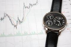 De stokgrafiek en horloge van de kaars. Royalty-vrije Stock Foto's