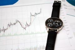 De stokgrafiek en horloge van de kaars Royalty-vrije Stock Fotografie