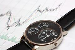 De stokgrafiek en horloge van de kaars. Stock Afbeelding
