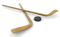De stokken en de puck van het ijshockey Stock Foto's