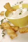 De stokken van de kaas met yoghurt Royalty-vrije Stock Foto's
