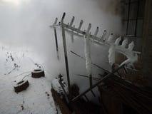 De stoom van de de winterfabriek Stock Afbeelding