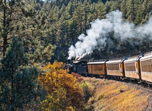 De stoomlocomotief trekt de Durango aan Silverton-trein Royalty-vrije Stock Foto's