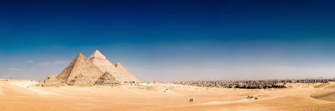 De stora pyramiderna av Giza, Egypten Arkivbilder