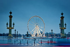 De stora wheel in Paris, Ställe de la Concorde Arkivfoton