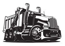 De stortplaatsvrachtwagen van het beeldverhaal die op wit wordt geïsoleerde stock illustratie