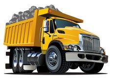 De stortplaatsvrachtwagen van het beeldverhaal die op wit wordt geïsoleerde vector illustratie