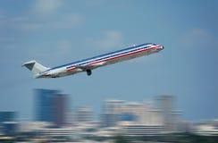 De straal van de passagier tijdens de vlucht Stock Foto's
