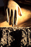 De straal van de zon op de gouden hand van Boedha royalty-vrije stock foto