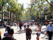 De straat Barcelona Catalunya, Spanje van La Rambla stock fotografie