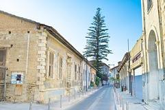 De straat met de boom Stock Fotografie