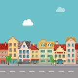 De straat met voorgevels van oude gebouwen Naadloos patroon Royalty-vrije Stock Afbeelding