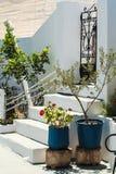 De straat op het Griekse eiland Santorini Stock Foto