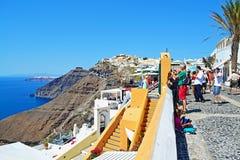 De straat overzeese van het Santorinieiland meningen Griekenland Royalty-vrije Stock Afbeeldingen