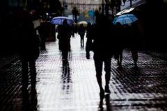De straat van Arbat van de regen in Moskou royalty-vrije stock foto