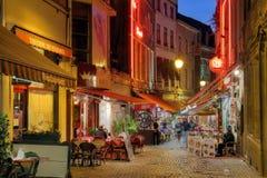 De straat van Brussel, België stock foto's