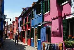 De Straat van Burano Stock Fotografie