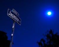 De Straat van de jasmijn bij Nacht Stock Foto's